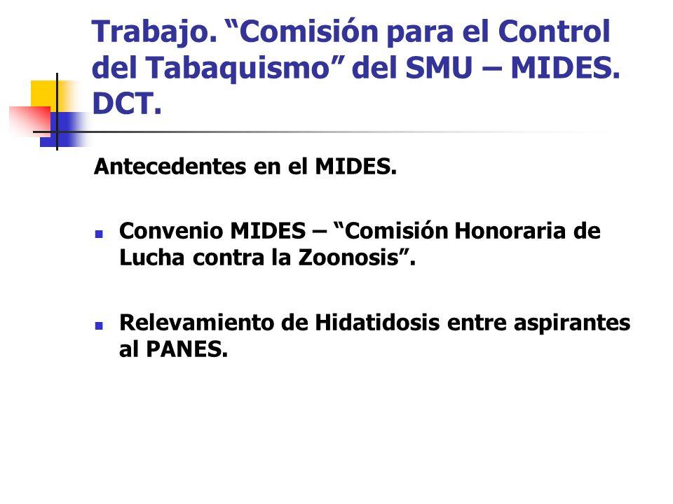 Trabajo. Comisión para el Control del Tabaquismo del SMU – MIDES.