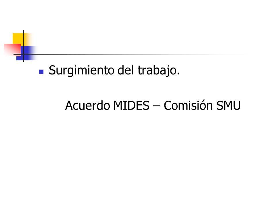 Surgimiento del trabajo. Acuerdo MIDES – Comisión SMU
