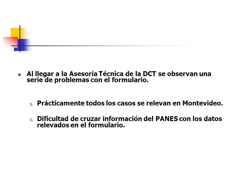 Al llegar a la Asesoría Técnica de la DCT se observan una serie de problemas con el formulario.