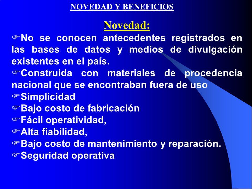 NOVEDAD Y BENEFICIOS Novedad:  No se conocen antecedentes registrados en las bases de datos y medios de divulgación existentes en el país.