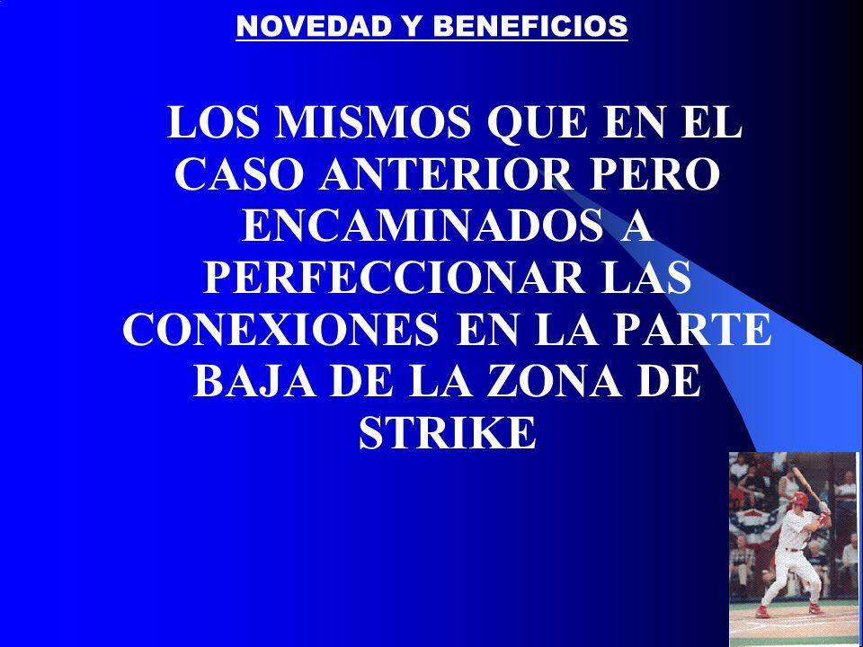 LOS MISMOS QUE EN EL CASO ANTERIOR PERO ENCAMINADOS A PERFECCIONAR LAS CONEXIONES EN LA PARTE BAJA DE LA ZONA DE STRIKE NOVEDAD Y BENEFICIOS
