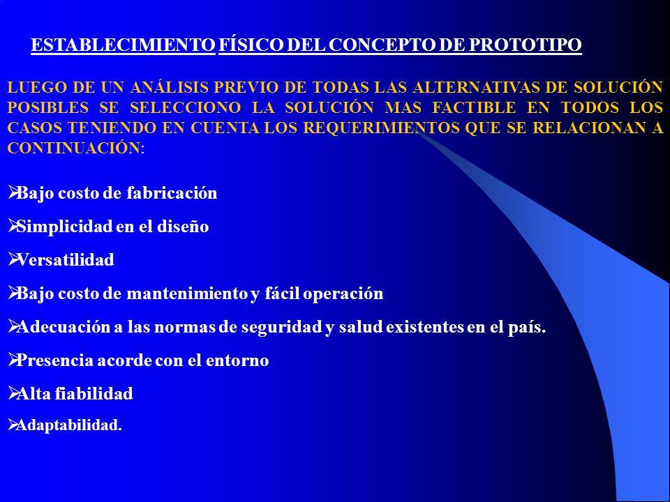 ESTABLECIMIENTO FÍSICO DEL CONCEPTO DE PROTOTIPO LUEGO DE UN ANÁLISIS PREVIO DE TODAS LAS ALTERNATIVAS DE SOLUCIÓN POSIBLES SE SELECCIONO LA SOLUCIÓN MAS FACTIBLE EN TODOS LOS CASOS TENIENDO EN CUENTA LOS REQUERIMIENTOS QUE SE RELACIONAN A CONTINUACIÓN:  Bajo costo de fabricación  Simplicidad en el diseño  Versatilidad  Bajo costo de mantenimiento y fácil operación  Adecuación a las normas de seguridad y salud existentes en el país.
