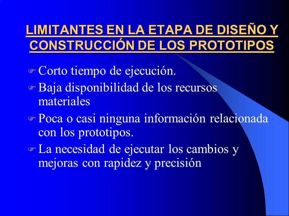 LIMITANTES EN LA ETAPA DE DISEÑO Y CONSTRUCCIÓN DE LOS PROTOTIPOS  Corto tiempo de ejecución.
