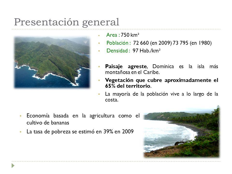 Presentación general  Area : 750 km²  Población : 72 660 (en 2009) 73 795 (en 1980)  Densidad : 97 Hab./km²  Paisaje agreste, Dominica es la isla más montañosa en el Caribe.