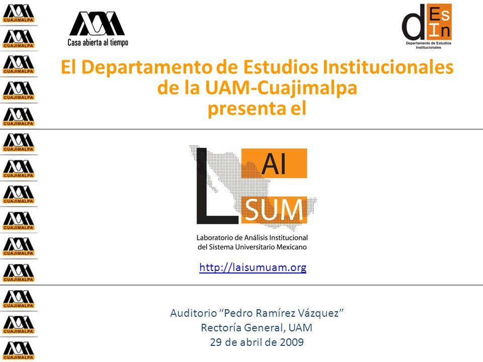 El Departamento de Estudios Institucionales de la UAM-Cuajimalpa presenta el Auditorio Pedro Ramírez Vázquez Rectoría General, UAM 29 de abril de 2009 http://laisumuam.org
