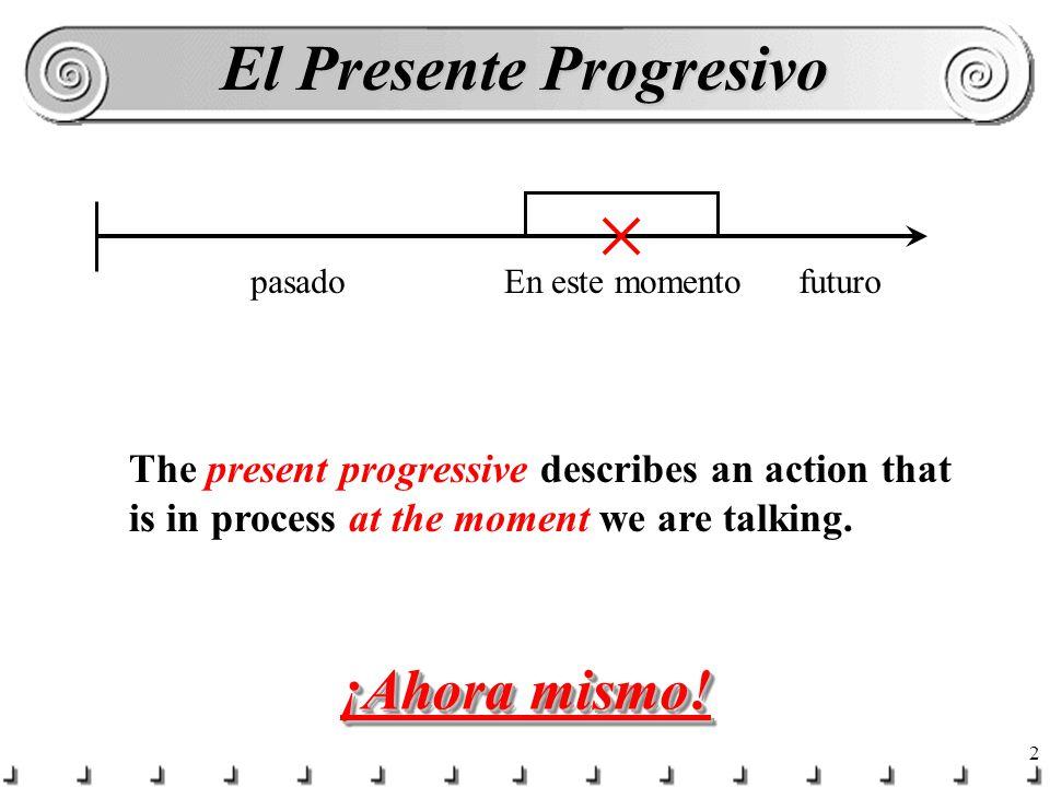 1 El Presente Progresivo ¿Qué estás haciendo ahora mismo (right now)