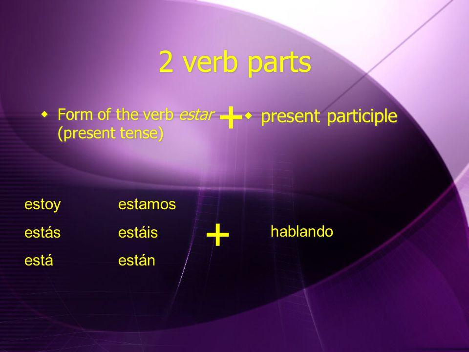 2 verb parts  Form of the verb estar (present tense)  present participle + estoy estamos estásestáis estáestán + hablando