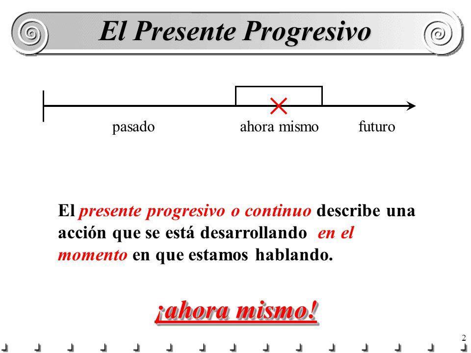 1 El Presente Progresivo ¿Qué estás haciendo ahora mismo