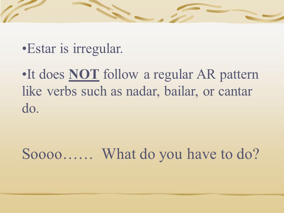 ESTAR Another Irregular Verb!