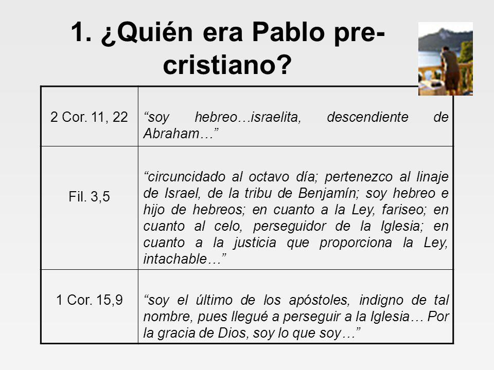 1. ¿Quién era Pablo pre- cristiano. 2 Cor.
