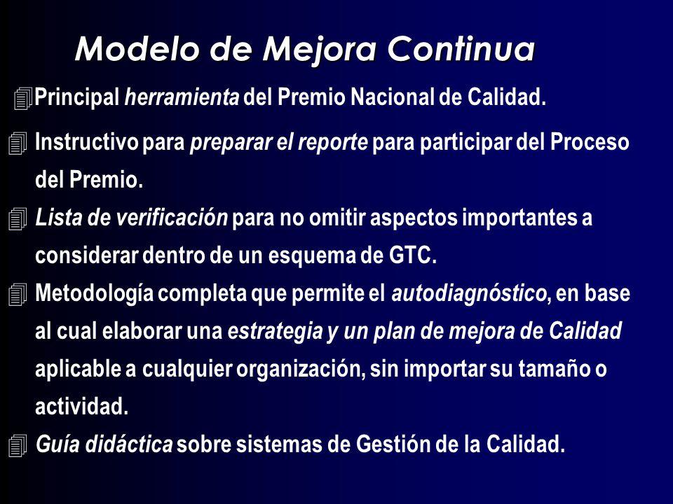 12 1 - Liderazgo de la Alta dirección 2 - Planeamiento 3 - Desarrollo de las personas 4 - Enfoque en el Cliente Externo 6 - Aseguramiento de la Calidad 5 – Información y Análisis 7 - Impacto en la Sociedad y el Medio Ambiente 8 - Resultados Modelo de Mejora Continua