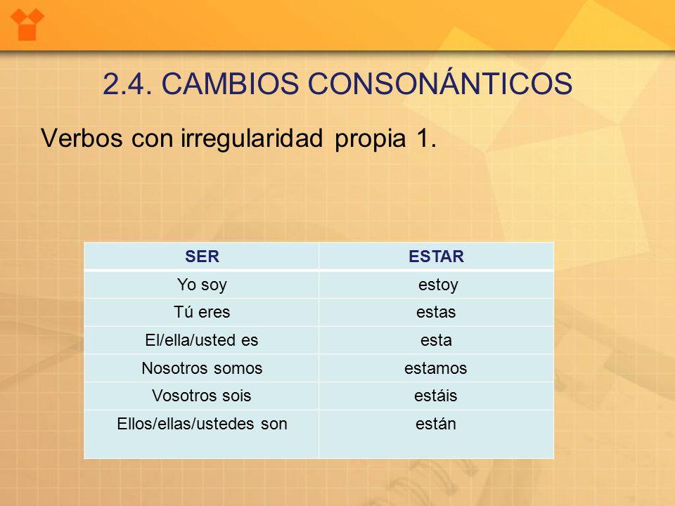 2.4. CAMBIOS CONSONÁNTICOS Verbos con irregularidad propia 1.
