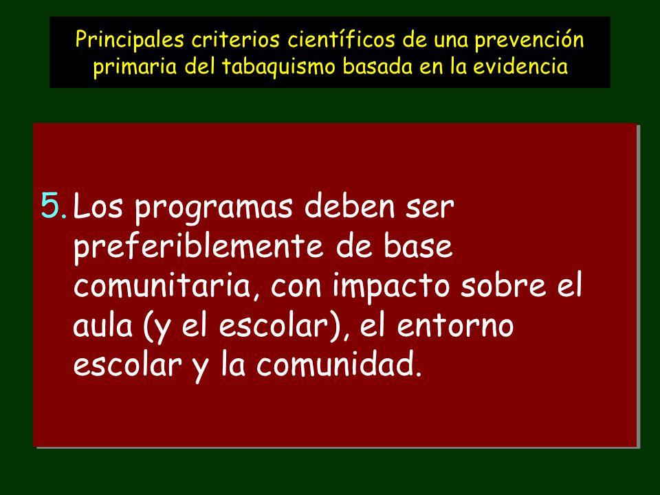 Principales criterios científicos de una prevención primaria del tabaquismo basada en la evidencia 5.Los programas deben ser preferiblemente de base comunitaria, con impacto sobre el aula (y el escolar), el entorno escolar y la comunidad.