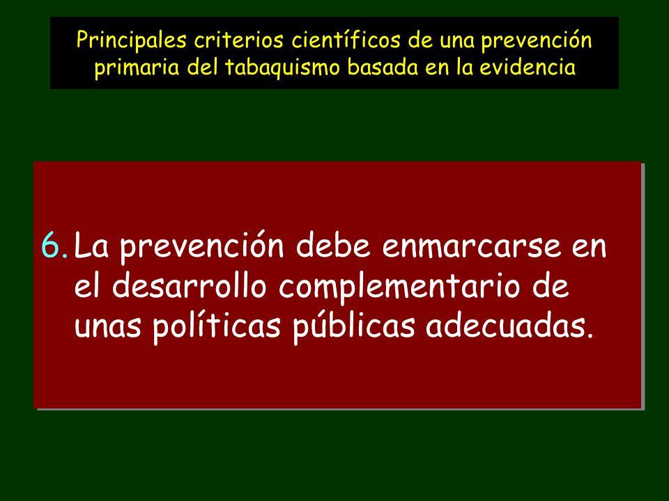 Principales criterios científicos de una prevención primaria del tabaquismo basada en la evidencia 6.La prevención debe enmarcarse en el desarrollo complementario de unas políticas públicas adecuadas.