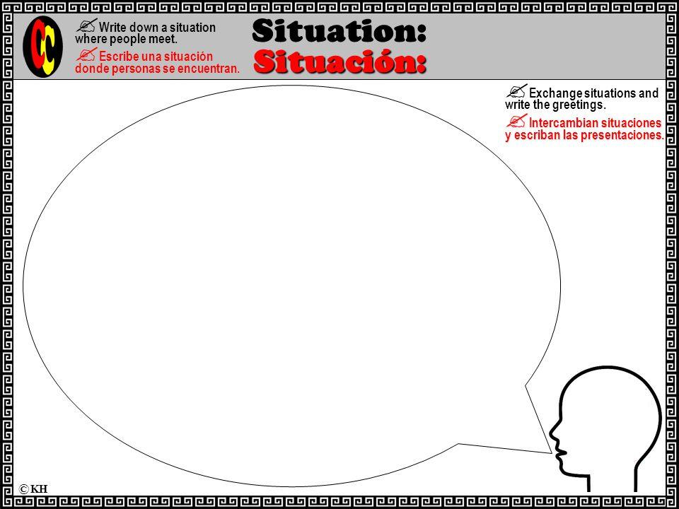 Situación: Situation: Situación:  Write down a situation where people meet.
