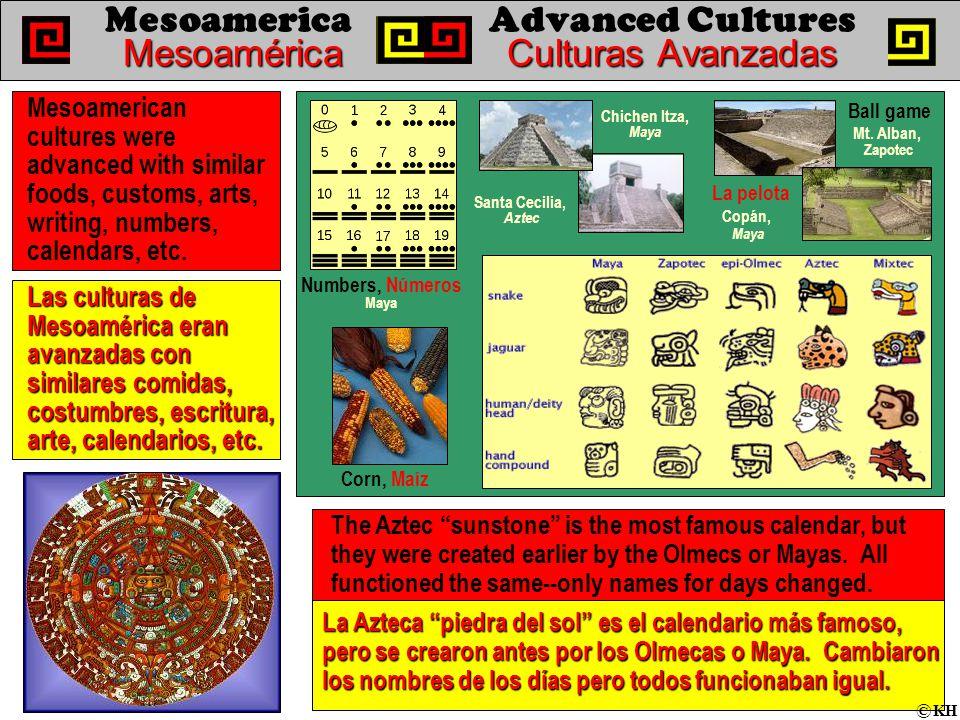 MesoaméricaCulturas Avanzadas MesoamericaAdvanced Cultures MesoaméricaCulturas Avanzadas Las culturas de Mesoamérica eran avanzadas con similares comidas, costumbres, escritura, arte, calendarios, etc.