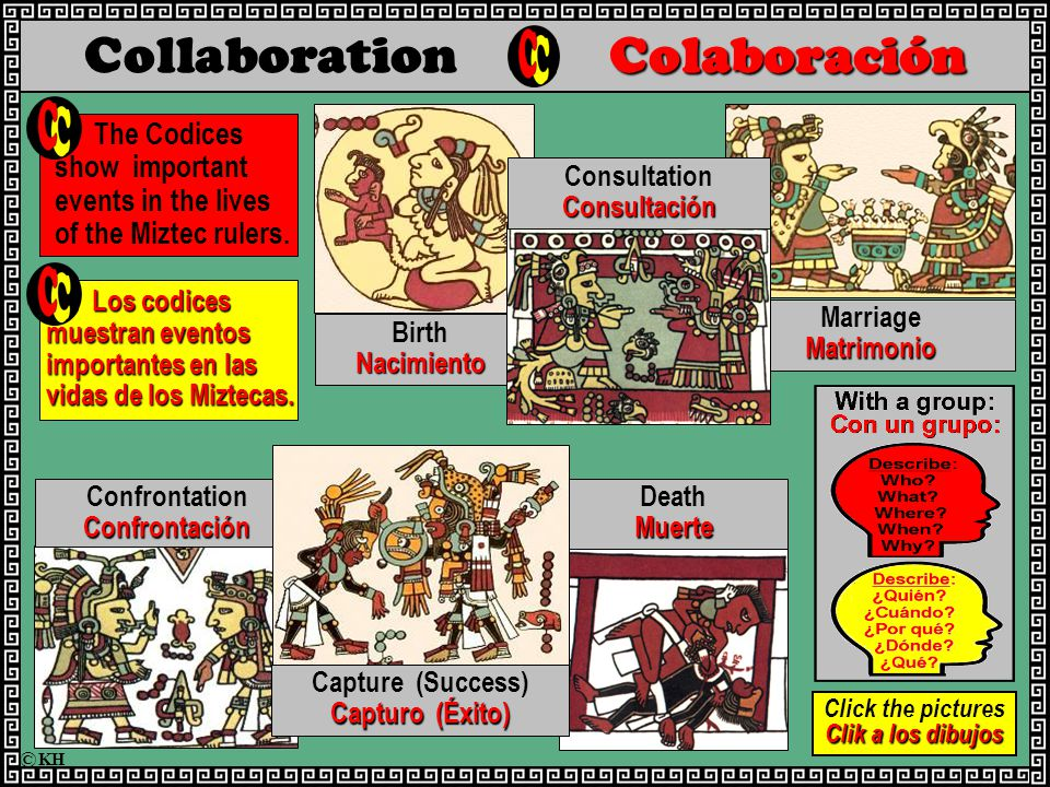 Colaboración Collaboration Colaboración The Codices show important events in the lives of the Miztec rulers.