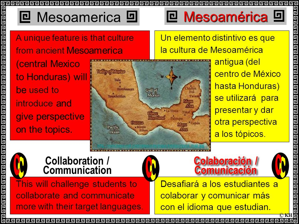 Desafiará a los estudiantes a colaborar y comunicar más con el idioma que estudian.Mesoamérica Un elemento distintivo es que la cultura de Mesoamérica antigua (del centro de México hasta Honduras) se utilizará para presentar y dar otra perspectiva a los tópicos.