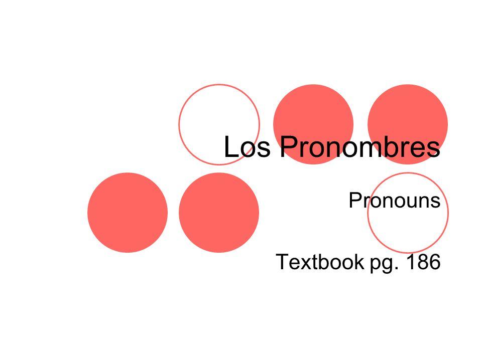 Los Pronombres Pronouns Textbook pg. 186