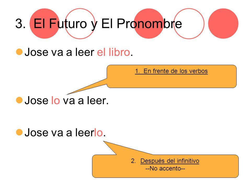 3. El Futuro y El Pronombre Jose va a leer el libro.
