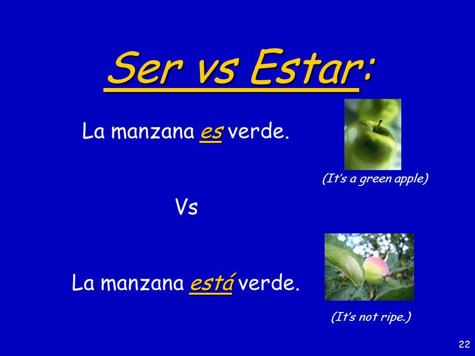 21 Ser vs Estar: es El pescado es muy bueno para la salud. Vs está El pescado está muy bueno.