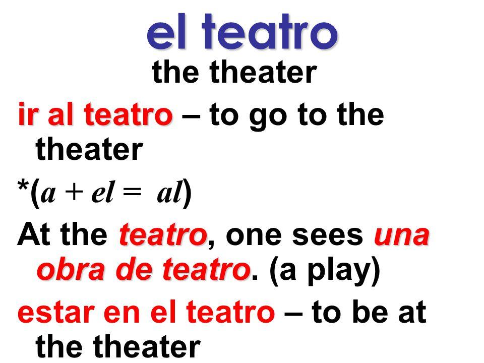 el teatro the theater ir al teatro – to go to the theater *( a + el = al ) At the t tt teatro, one sees u uu una obra de teatro.