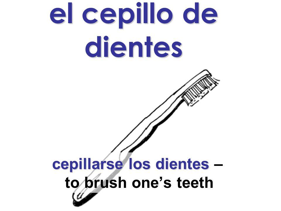 el cepillo de dientes cepillarse los dientes cepillarse los dientes – to brush one's teeth