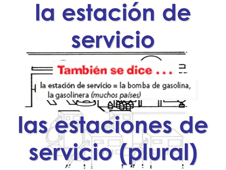 la estación de servicio las estaciones de servicio (plural)
