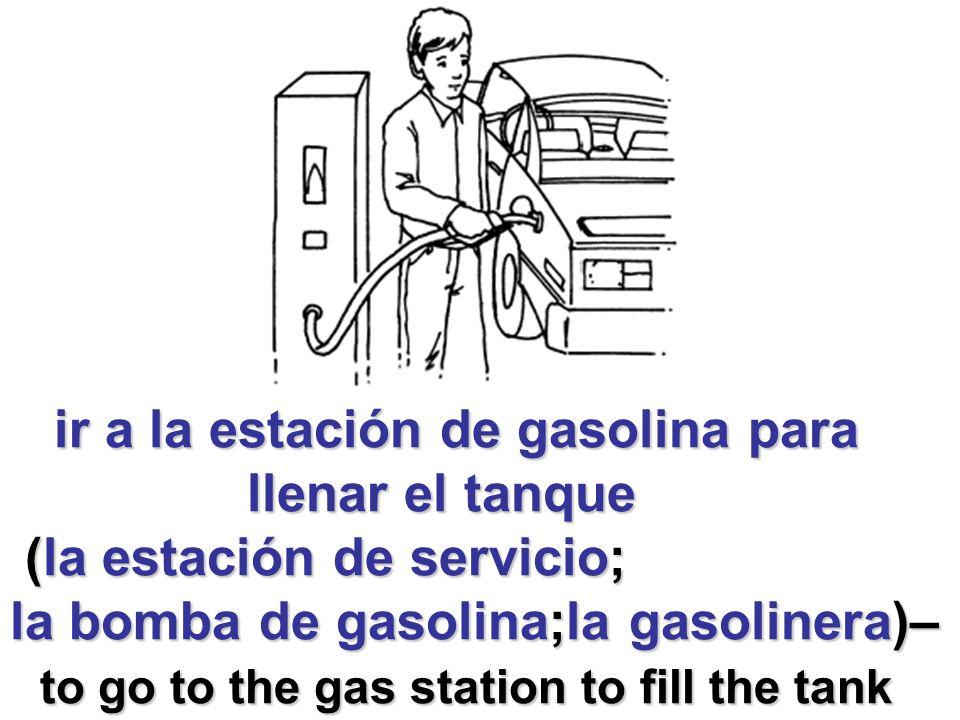 ir a la estación de gasolina para ir a la estación de gasolina para llenar el tanque llenar el tanque (la estación de servicio; (la estación de servicio; la bomba de gasolina;la gasolinera)– to go to the gas station to fill the tank to go to the gas station to fill the tank
