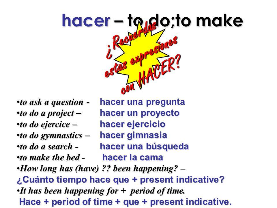 hacer – to do;to make hacer – to do;to make¿Recuerdas estas expresiones con HACER.
