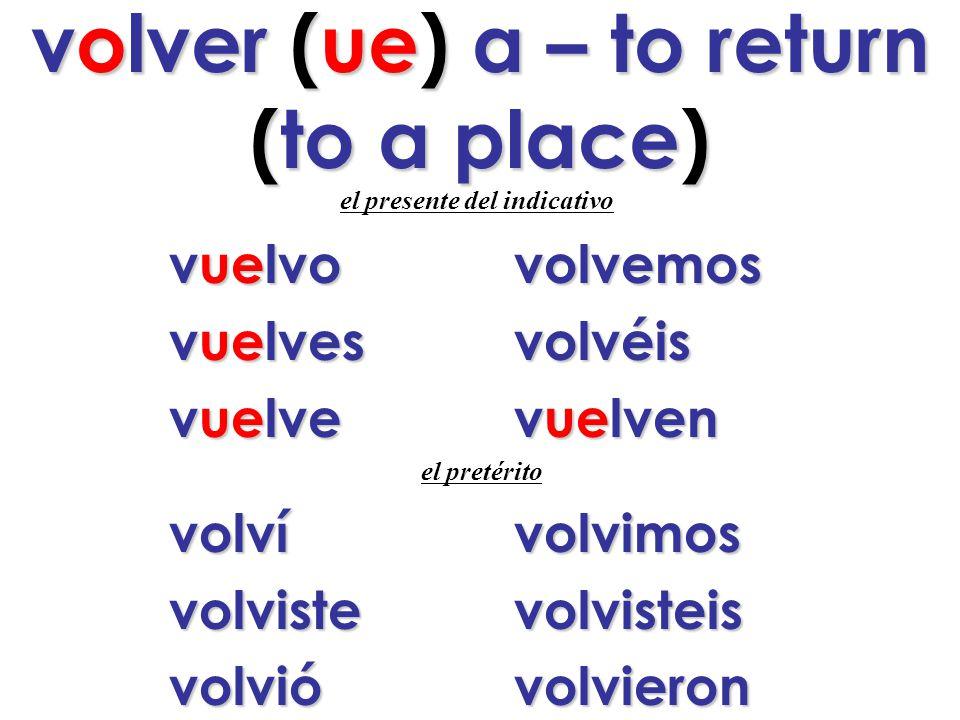volver (ue) a – to return (to a place) e l presente del indicativo v uelvovolvemos vuelvesvolvéis vuelvevuelven el pretérito volvívolvimos volvistevolvisteis volvióvolvieron