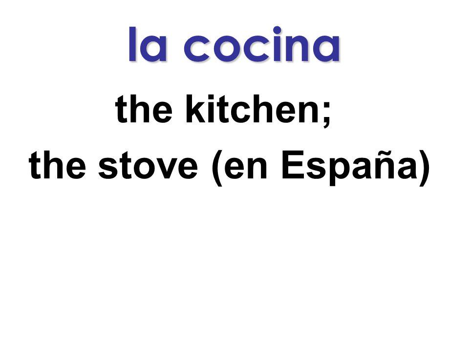 la cocina the kitchen; the stove (en España)