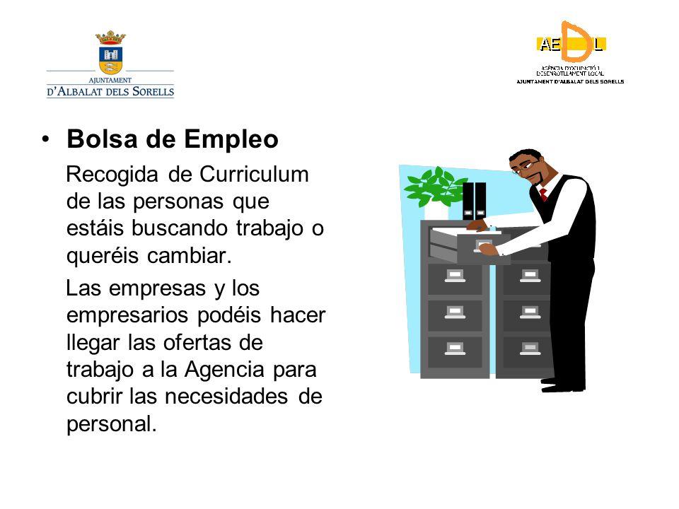 Bolsa de Empleo Recogida de Curriculum de las personas que estáis buscando trabajo o queréis cambiar.