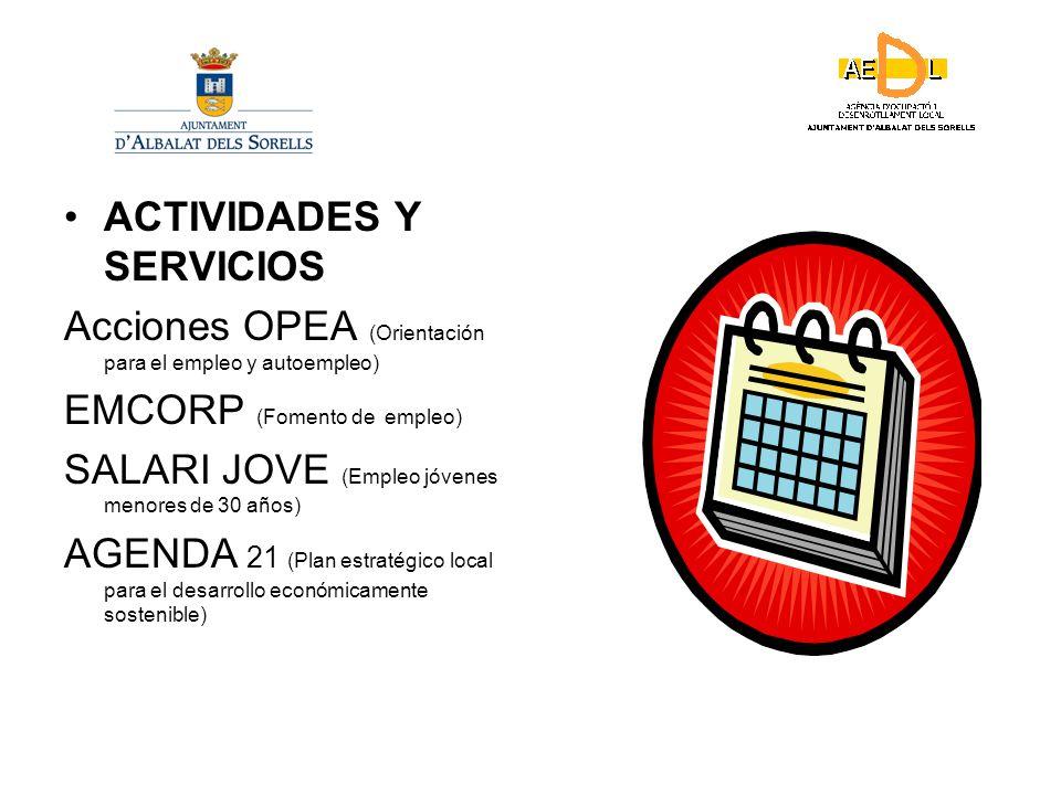 ACTIVIDADES Y SERVICIOS Acciones OPEA (Orientación para el empleo y autoempleo) EMCORP (Fomento de empleo) SALARI JOVE (Empleo jóvenes menores de 30 años) AGENDA 21 (Plan estratégico local para el desarrollo económicamente sostenible)