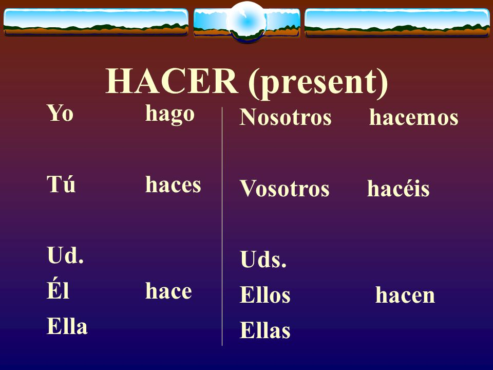 PRETERITE  These are all irregular in the past tense and you must memorize these verb forms.