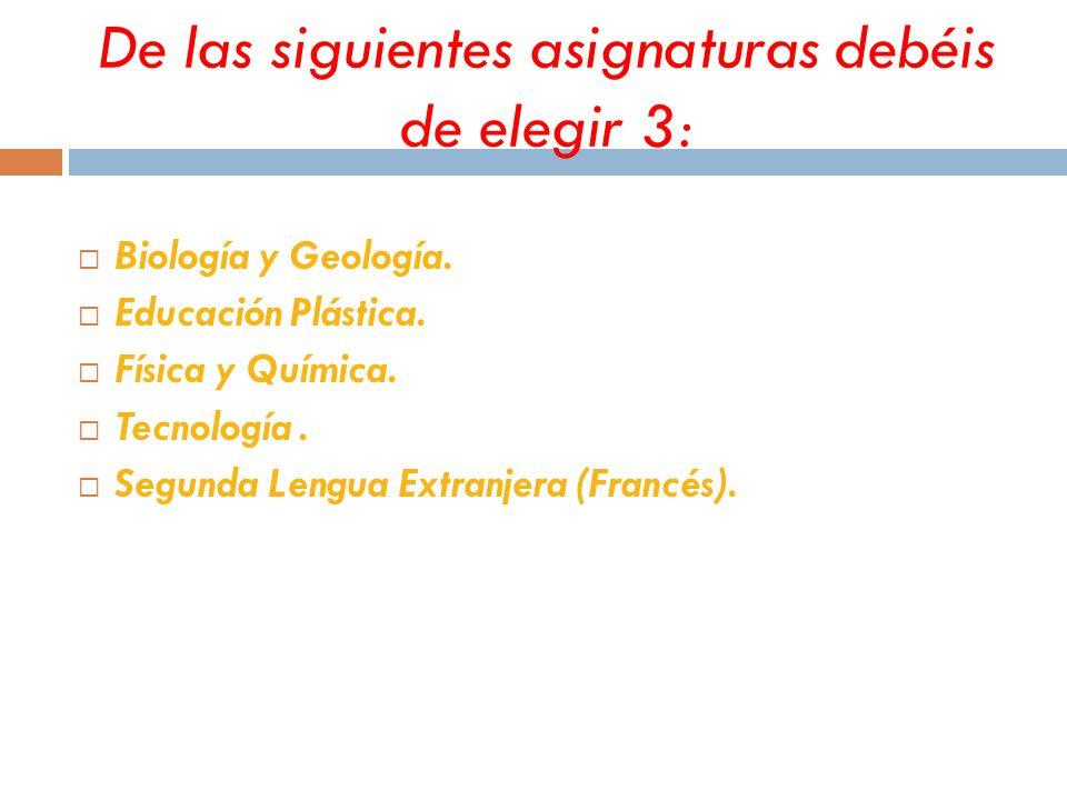 De las siguientes asignaturas debéis de elegir 3:  Biología y Geología.