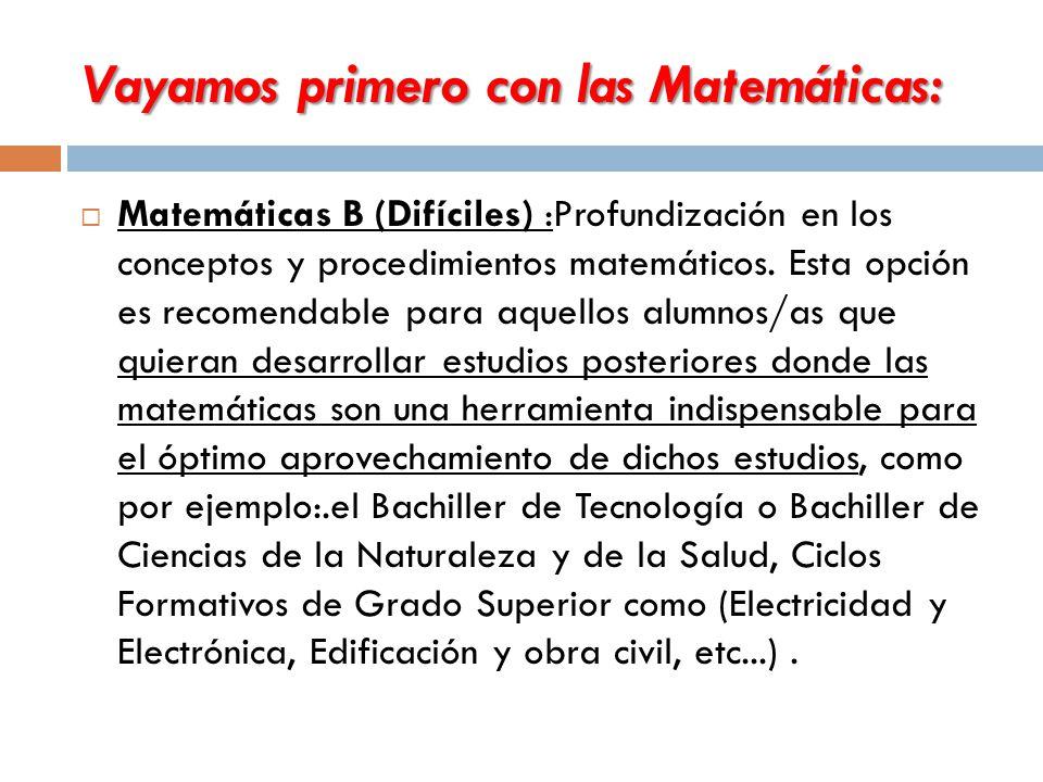 Vayamos primero con las Matemáticas:  Matemáticas B (Difíciles) :Profundización en los conceptos y procedimientos matemáticos.