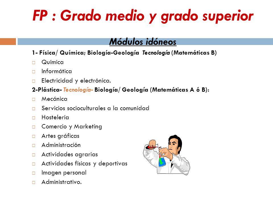 FP : Grado medio y grado superior Módulos idóneos 1- Física/ Química; Biología-Geología Tecnología (Matemáticas B)  Química  Informática  Electricidad y electrónica.