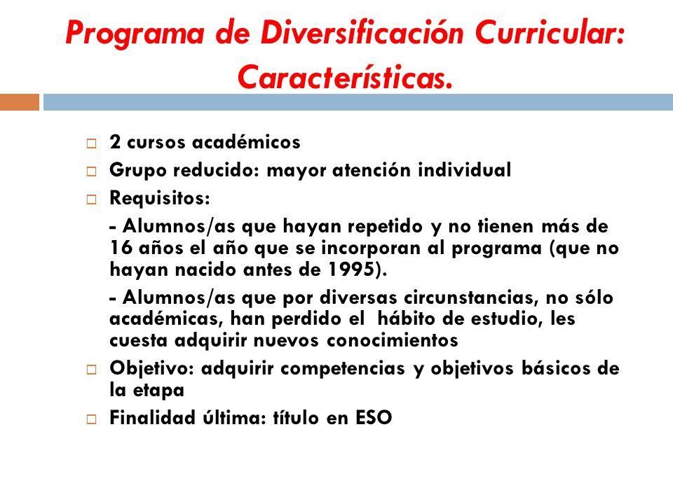 Programa de Diversificación Curricular: Características.