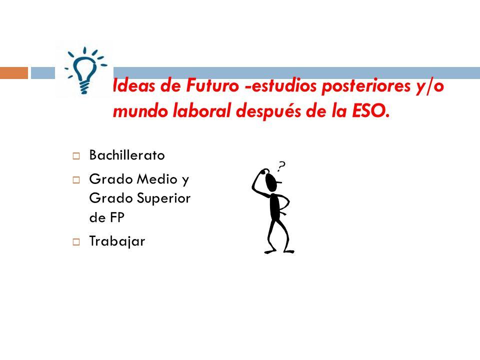 Ideas de Futuro -estudios posteriores y/o mundo laboral después de la ESO.
