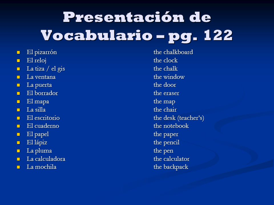 Presentación de Vocabulario – pg.