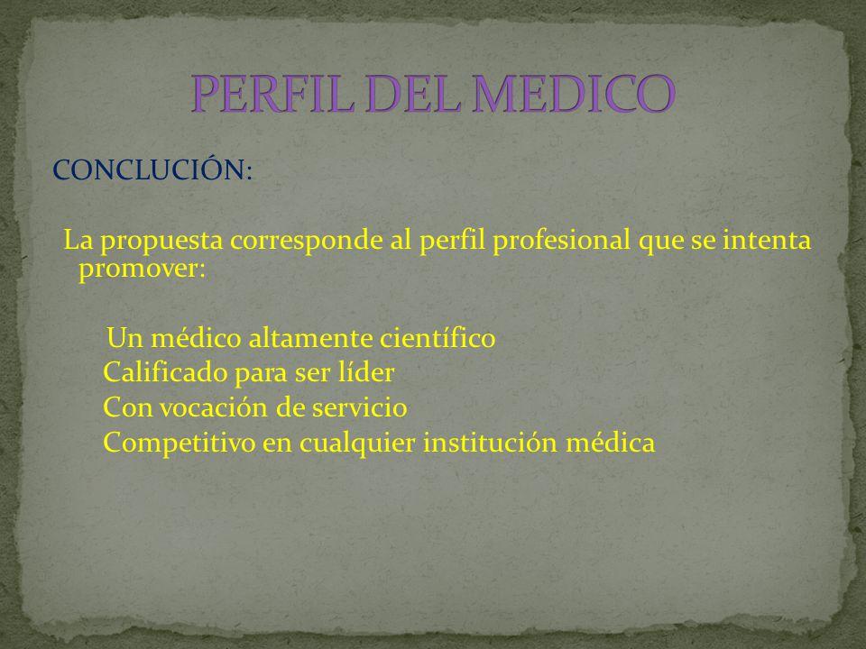 CONCLUCIÓN: La propuesta corresponde al perfil profesional que se intenta promover: Un médico altamente científico Calificado para ser líder Con vocación de servicio Competitivo en cualquier institución médica
