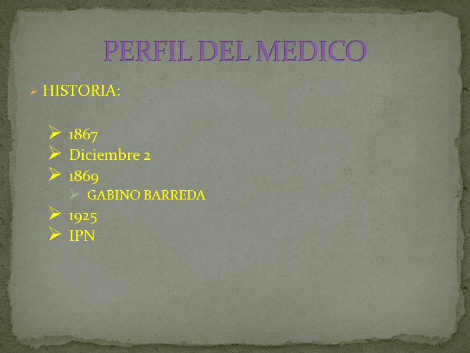  HISTORIA:  1867  Diciembre 2  1869  GABINO BARREDA  1925  IPN