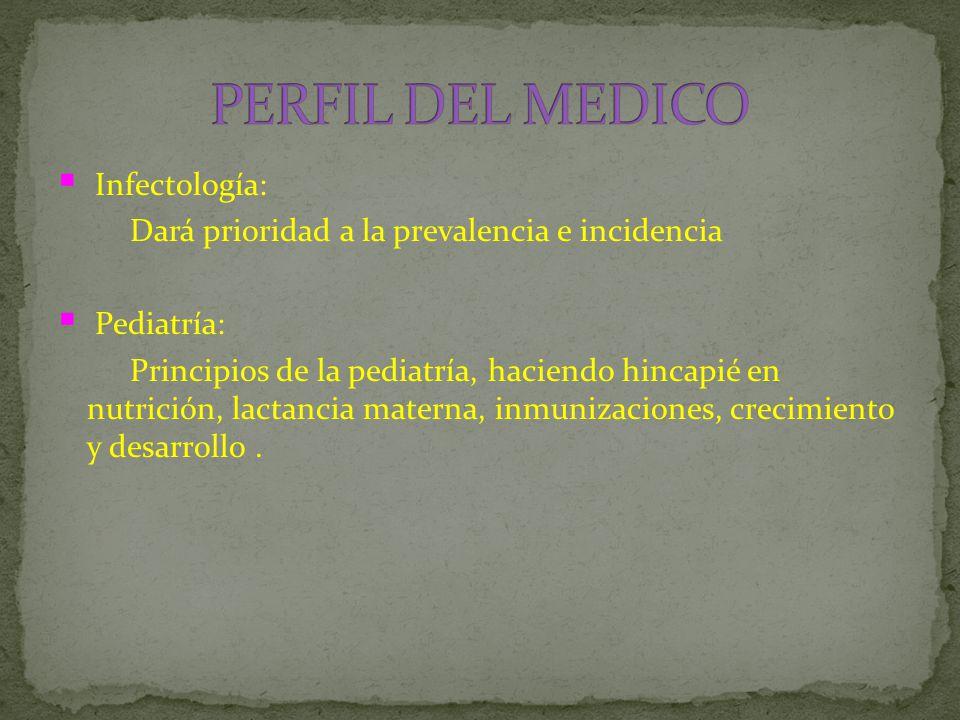  Infectología: Dará prioridad a la prevalencia e incidencia  Pediatría: Principios de la pediatría, haciendo hincapié en nutrición, lactancia materna, inmunizaciones, crecimiento y desarrollo.