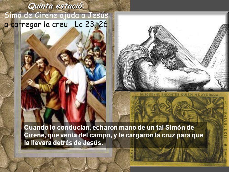 Quintaestació Quinta estació: Simó de Cirene ajuda a Jesús a carregar la creu Lc 23, 26 Cuando lo conducían, echaron mano de un tal Simón de Cirene, que venía del campo, y le cargaron la cruz para que la llevara detrás de Jesús.