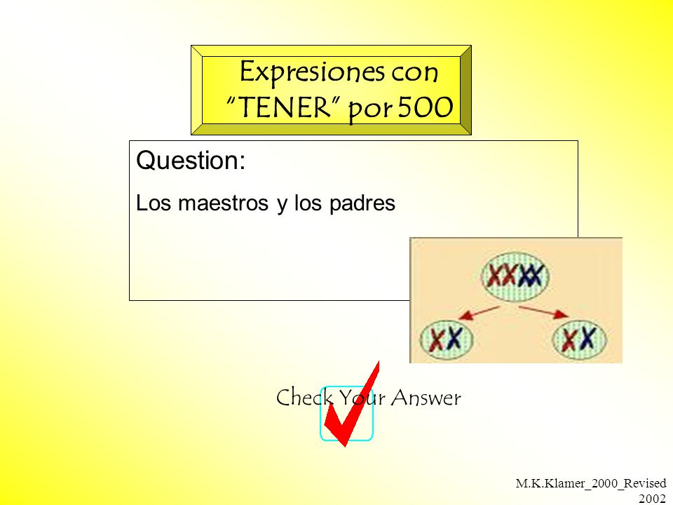M.K.Klamer_2000_Revised 2002 Question: Los maestros y los padres Check Your Answer Expresiones con TENER por 500