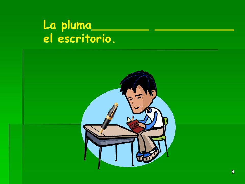 7 El libro está al lado del lápiz. El libro está al lado del lápiz. Ejemplo: