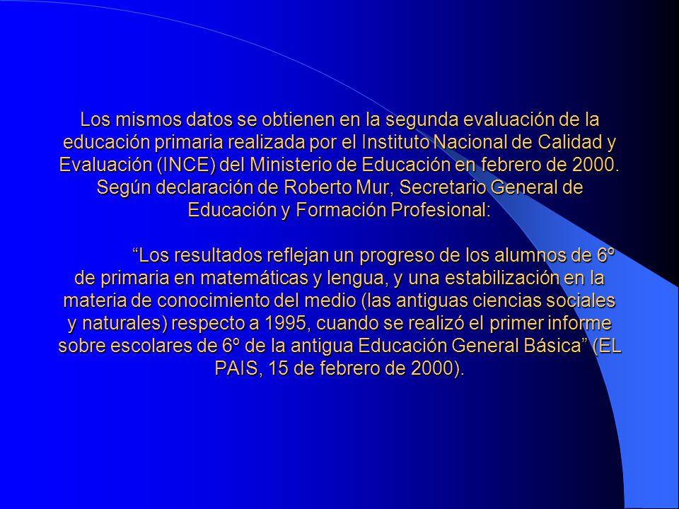Los mismos datos se obtienen en la segunda evaluación de la educación primaria realizada por el Instituto Nacional de Calidad y Evaluación (INCE) del Ministerio de Educación en febrero de 2000.