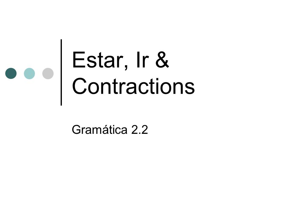Estar, Ir & Contractions Gramática 2.2