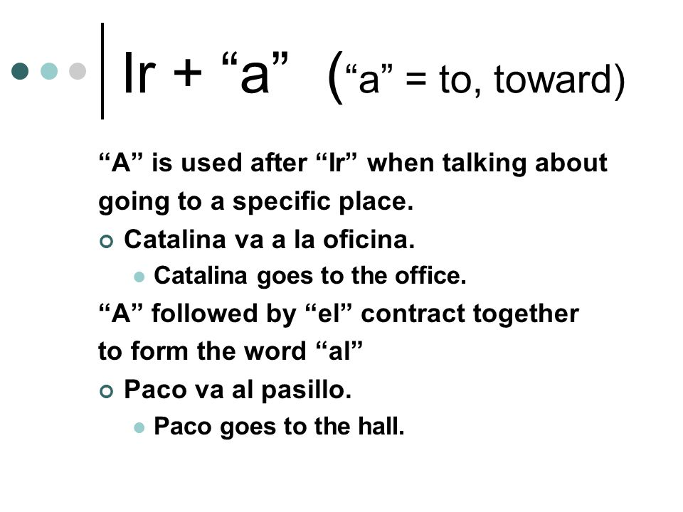 Ir + a ( a = to, toward) A is used after Ir when talking about going to a specific place.